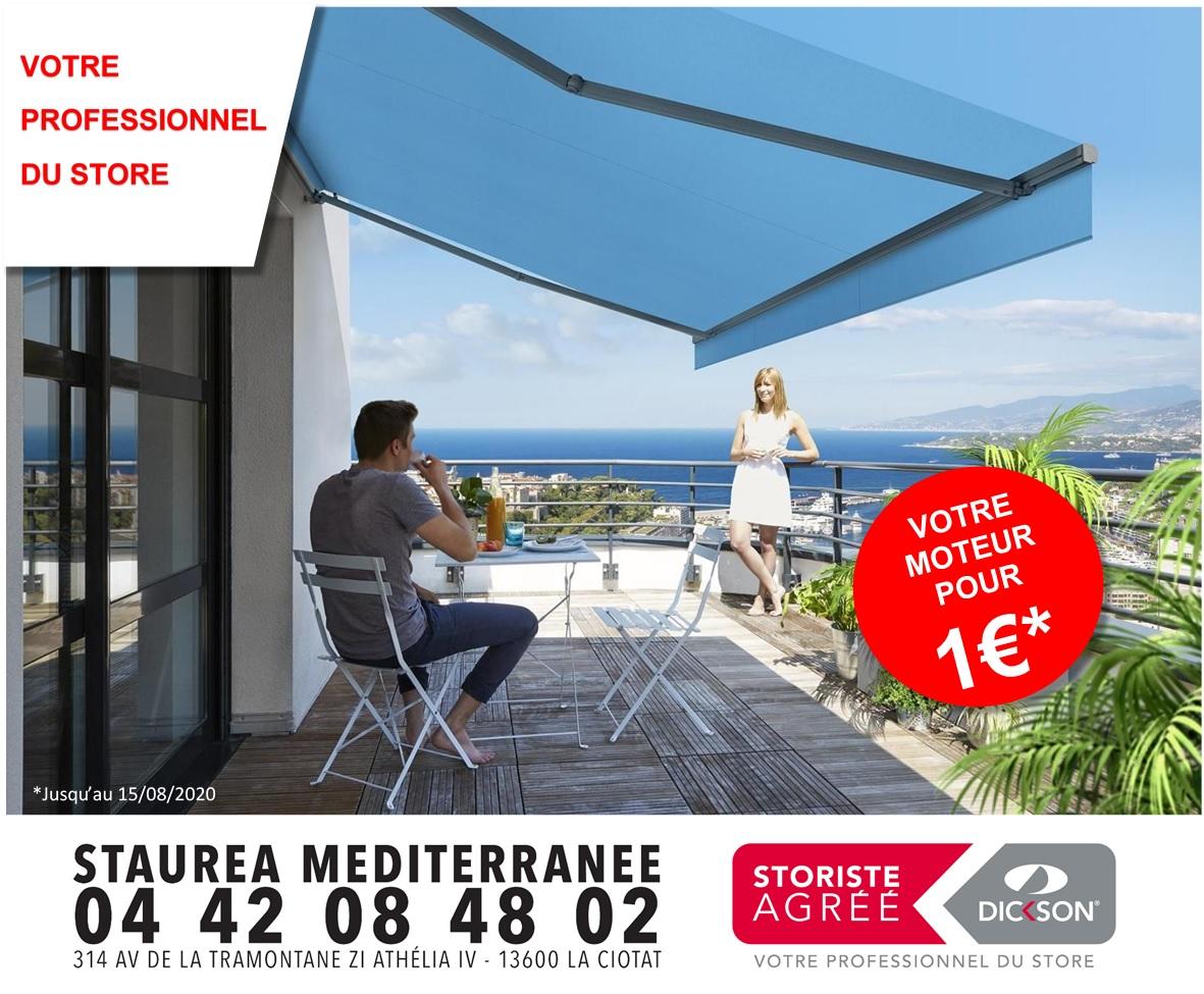 affiche promotio moteur à 1 euro pour pose de store, la ciotat | Staurea